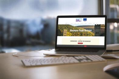 Business Peak District web design case study laptop mockup