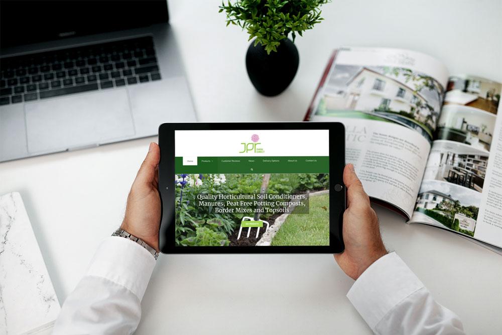 JPR Farm Direct web design case study iPad mockup