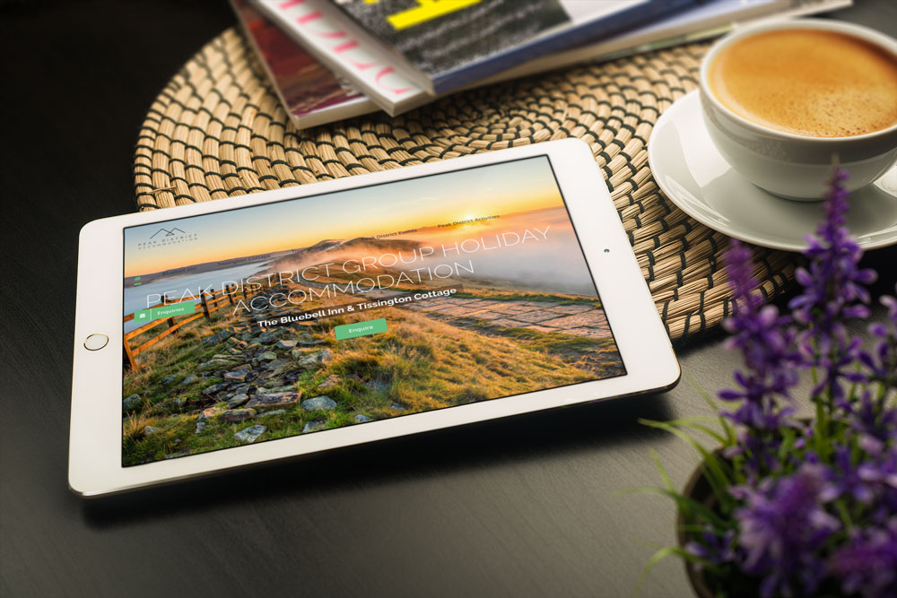 Peak District Accommodation web design case study iPad mockup