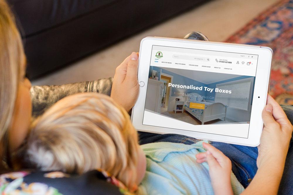 Personalised Toy Boxes web design case study iPad mockup