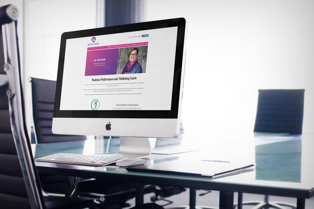 Success Stream case study web design iMac mockup